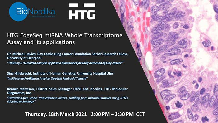 BioNordika and HTG Molecular webinar: miRNA whole transcriptome assay and applications 18th march 2021